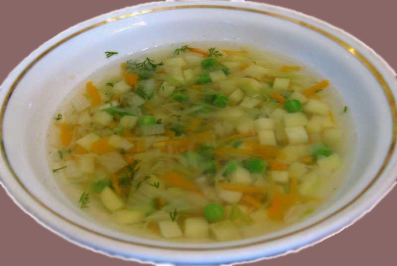 Картофельный суп с зеленым горошком
