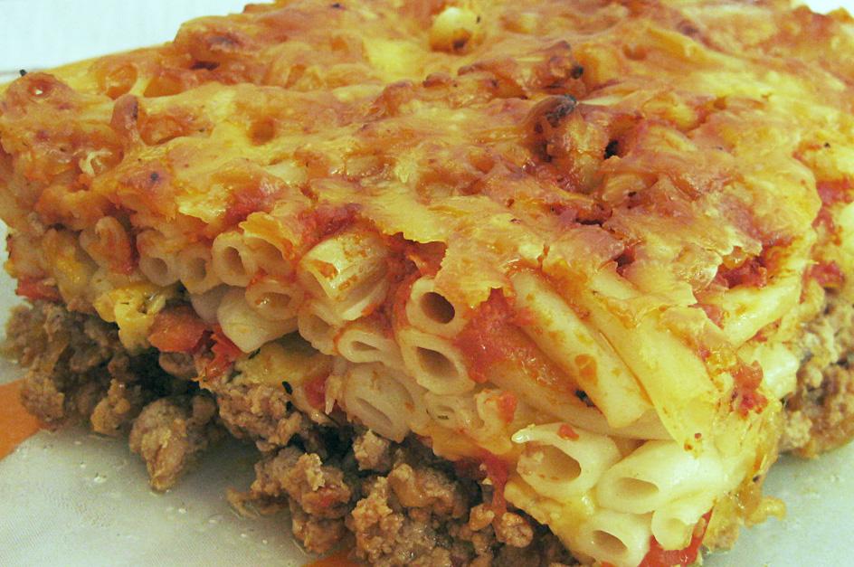 Запеканка с макаронами и мясом
