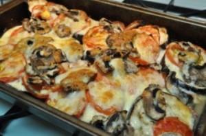 Баклажаны с сыром и грибами