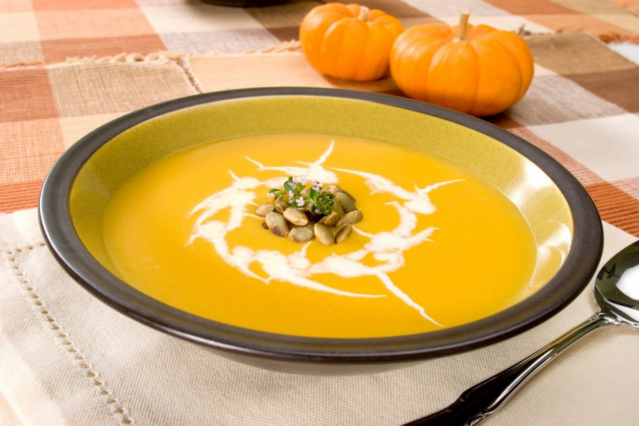 Крем суп из тыквы с курицей