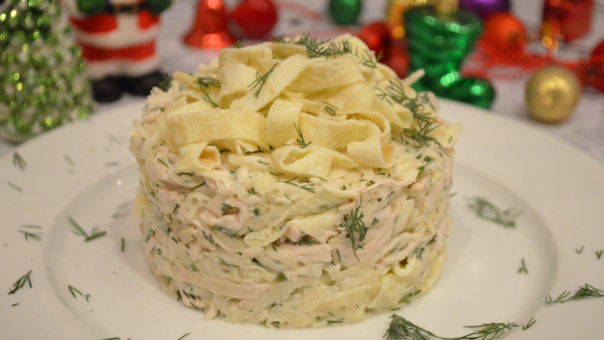 Салат из омлета грибы и грудка