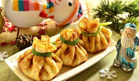 Новогодняя закуска «Мешочки Деда Мороза»