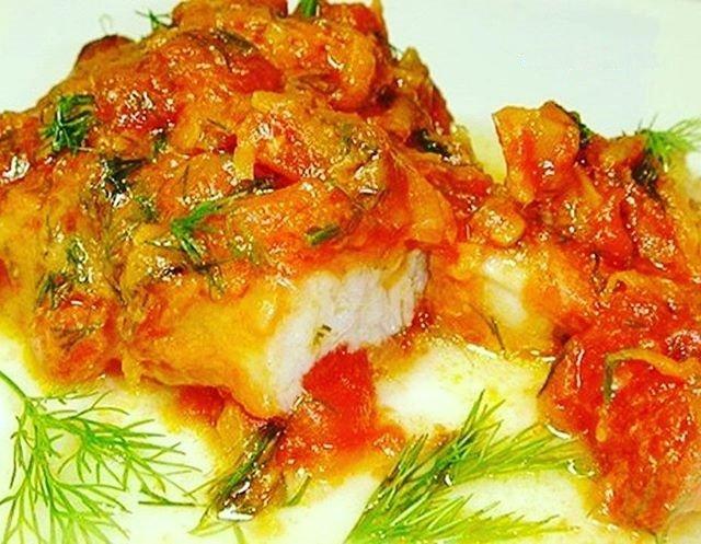 Тушеная в овощах рыба