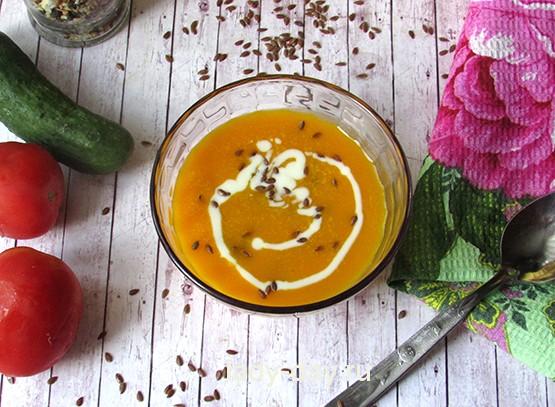 Тыквенный суп-пюре с льняными семечками