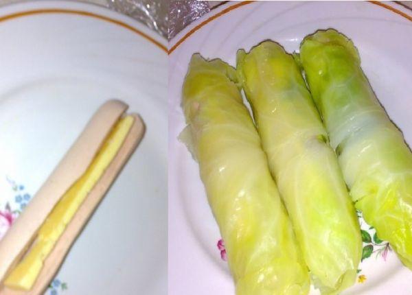 Сосиски в капустных листьях