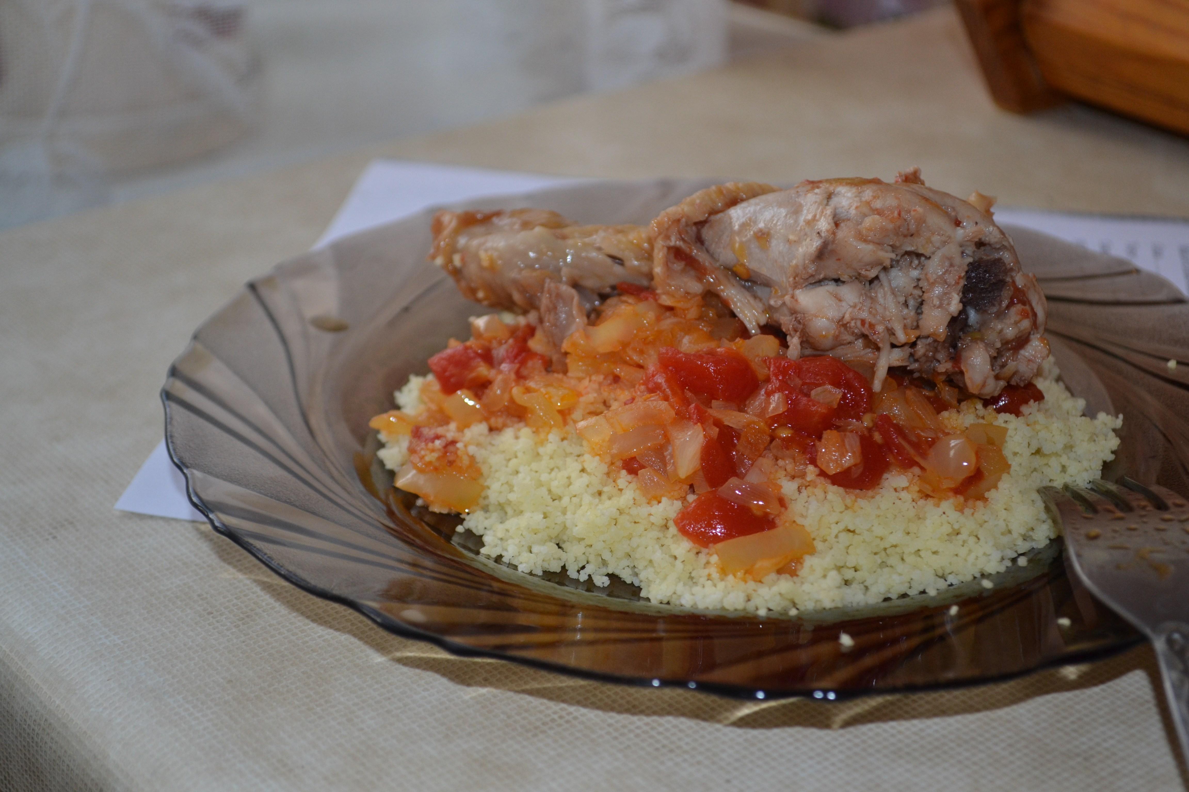 Кускус с запеченными овощами и курицей