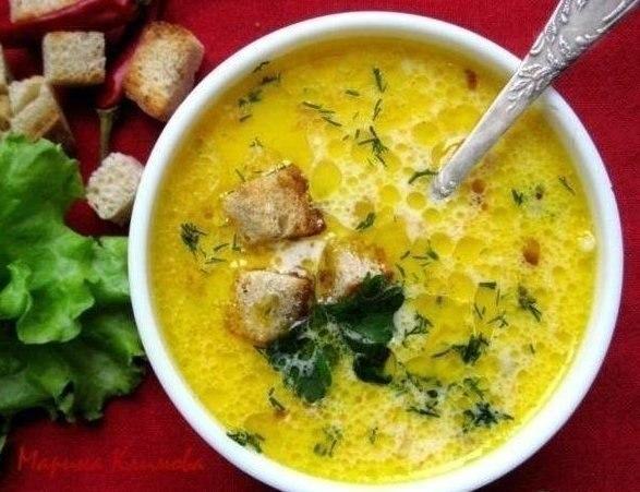 «Сливочно-сырный суп с ветчиной и сухариками»