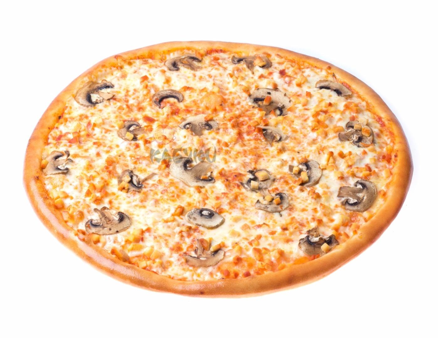 Пицца с шампиньонами и грибным соусом