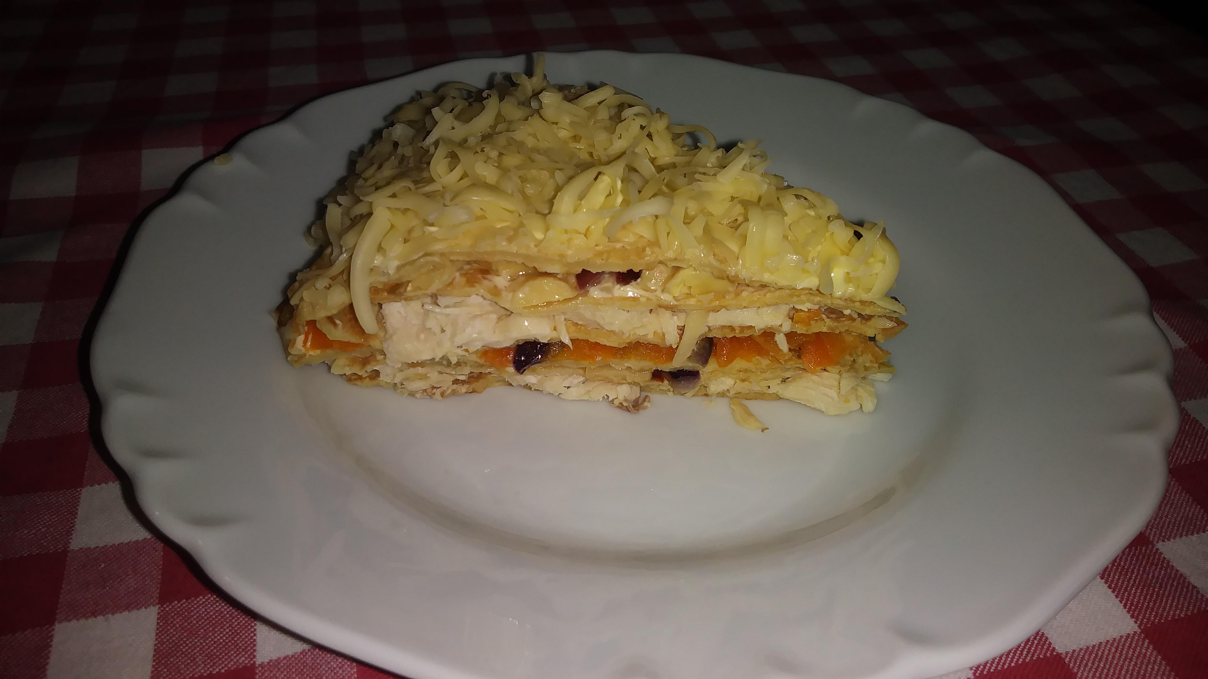 Закусочный торт с курицей и грибами