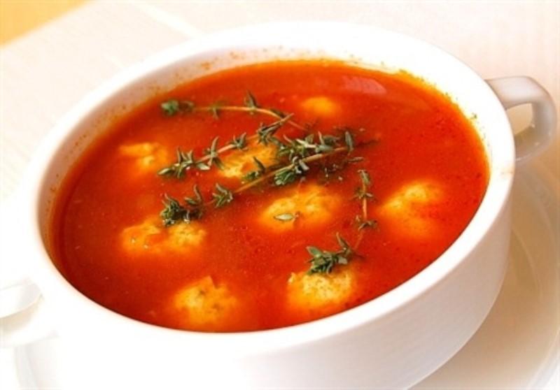 Томатный суп с галушками