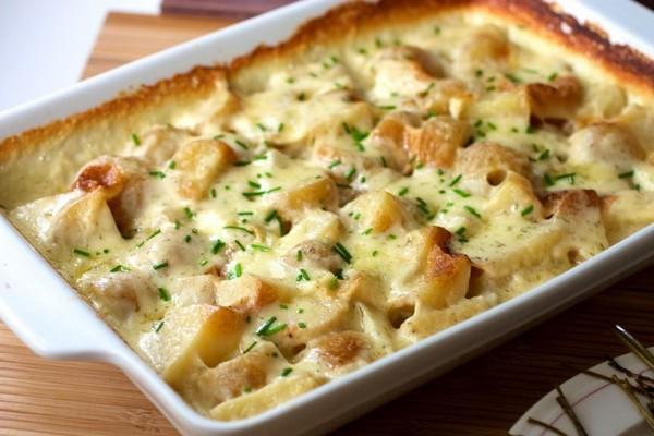 Гратен из картофеля с грибами и курицей