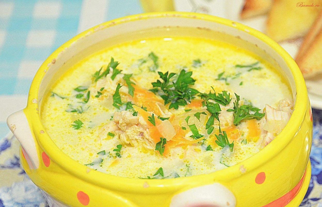 Легкий овощной суп с плавленым сыром