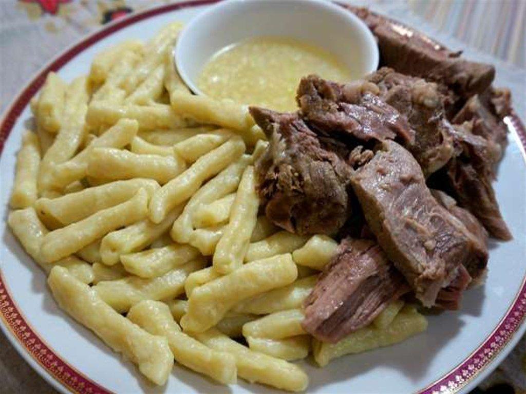 Национальное чеченское блюдо жижиг-галнаш