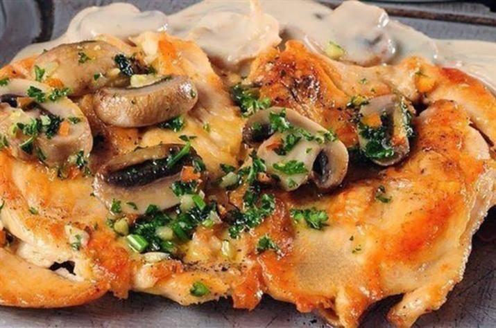 Курица с шампиньонами в духовке
