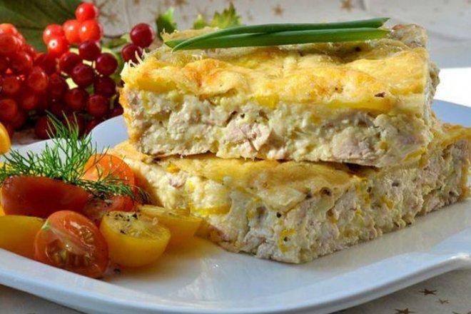 Легкая запеканка из куриного филе и сыра