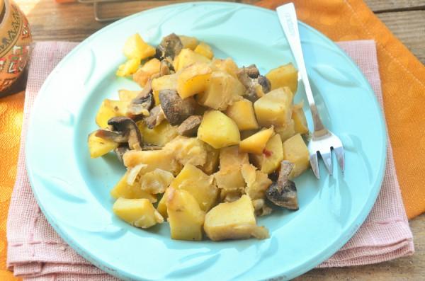 Картофель с шампиньонами в рукаве
