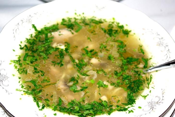 Суп с вермишелью и куриными потрошками