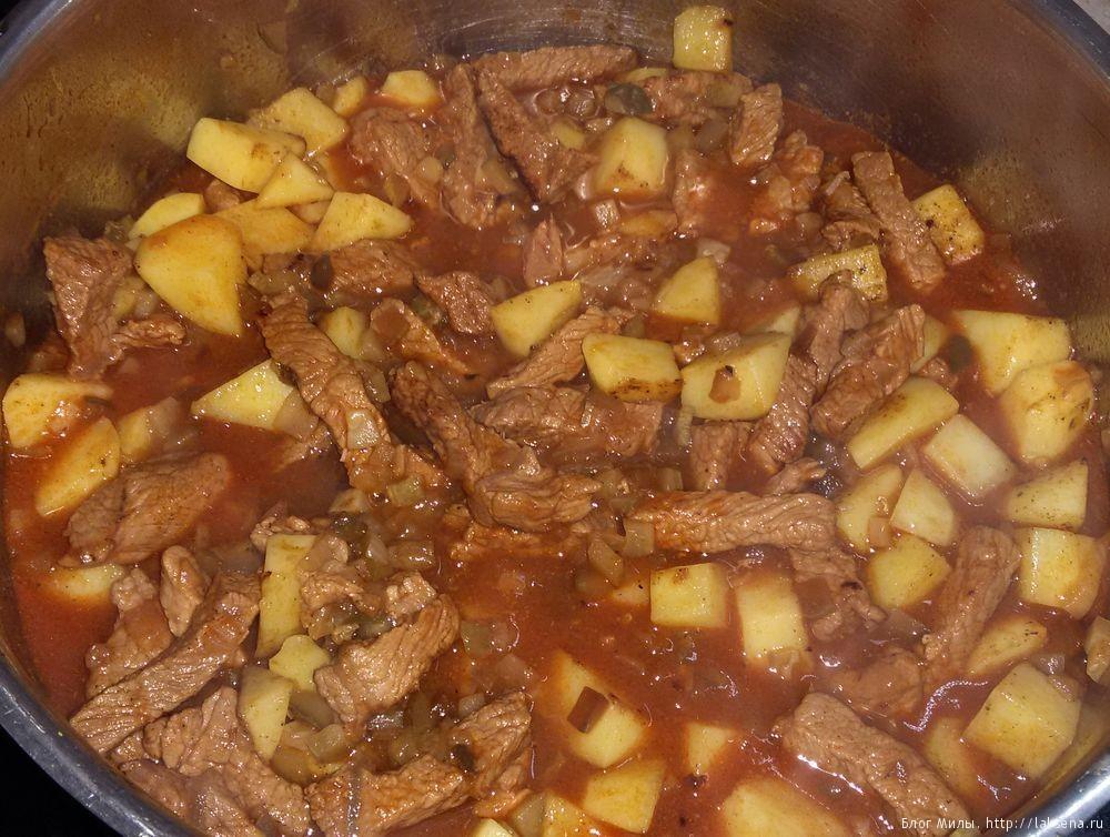 Азу из говядины с солеными огурцами и картошкой