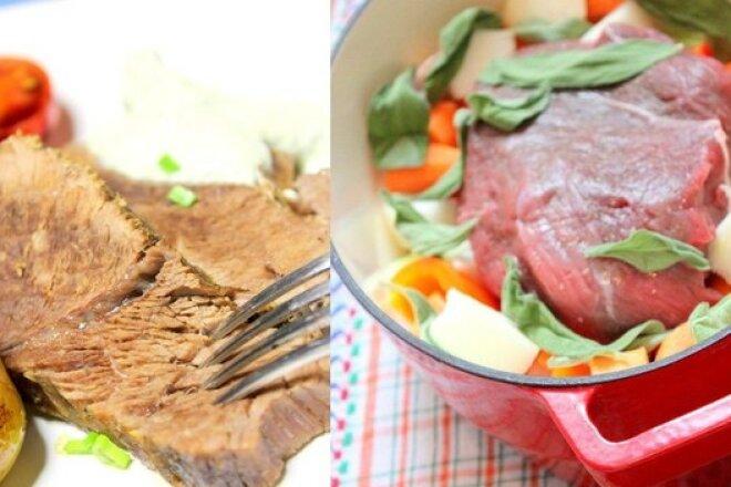 Говядина, запеченная с овощами и шалфеем
