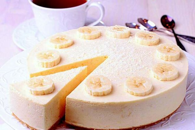 Творожно-банановый чизкейк без сахара
