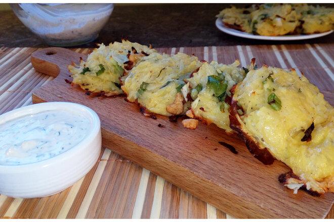 Драники с сыром и зеленым луком в духовке